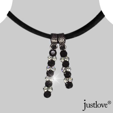 【justlove璀璨配飾】水晶鑽鋯石開運長墜子甜心禮盒項鍊頸鍊配飾品(黑)AB-0036