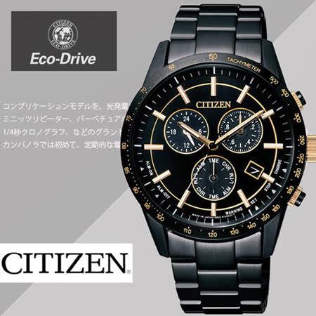 CITIZEN 星辰 Eco-Drive 黑金時尚 光動能時尚腕錶-40mm/BL5495-56F
