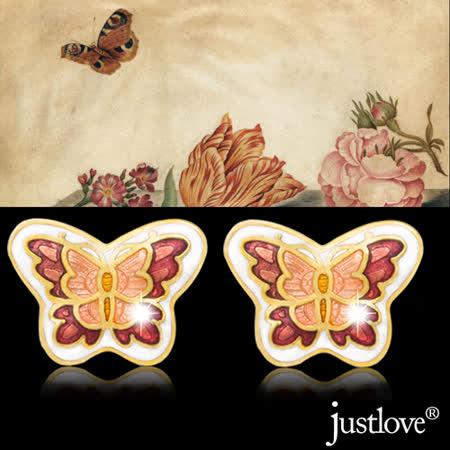 【justlove璀璨配飾】羅浮宮蝶戀花瓷釉彩繪百搭典雅復古針式耳環(共3色)ER-0004