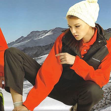 義大利 DIADORA女版運動休閒二件式外套加背心-粉灰/桔紅