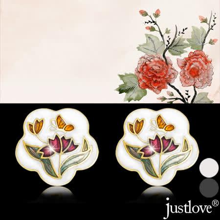 【justlove璀璨配飾】羅浮宮風瓷釉彩繪花朵花卉百搭典雅針式百搭耳環(2色)ER-0005