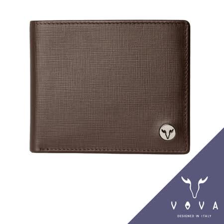 VOVA 凱旋系列5卡透明窗IV紋短夾(咖啡色)VA104W001BR