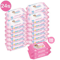 貝比Q EDI超厚超純水柔濕巾/80抽x24包/箱/(無香料)贈貝比Q 手口專用柔濕巾(30抽)2包