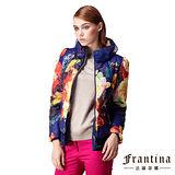 【法蘭蒂娜】立領印花渲染傘擺舖棉外套