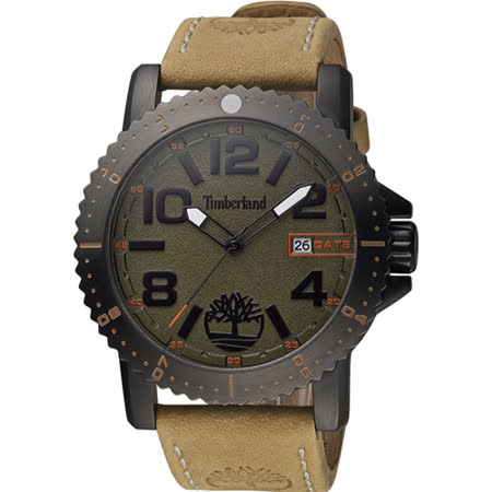 Timberland 頂尖對決時尚潮流腕錶-灰x卡其/47mm TBL.14491JSU/61
