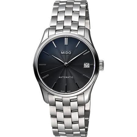 MIDO Belluna II Lady 經典機械女錶-黑x銀/33mm M0242071106100