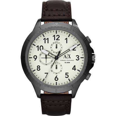 A│X Armani Exchange Romulous 計時錶-灰x深咖啡/50mm AX1757
