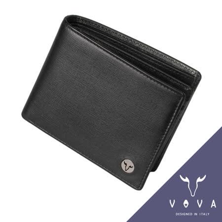 VOVA 凱旋系列9卡透明窗可翻式IV紋短夾(黑色)VA104W004BK