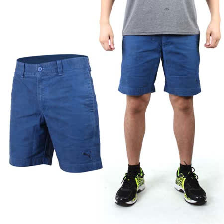 (男) PUMA 海灘休閒短褲-游泳 海灘 棉褲 藍黑