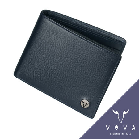 VOVA 凱旋系列9卡透明窗可翻式IV紋短夾(墨藍色)VA104W004NY
