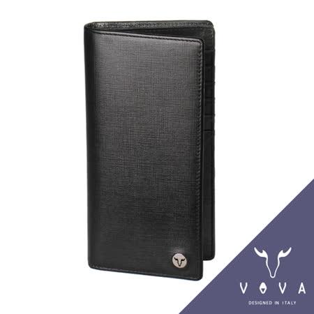 VOVA 凱旋系列12卡透明窗拉鍊零錢袋IV紋厚型長夾(黑色)VA104W005BK