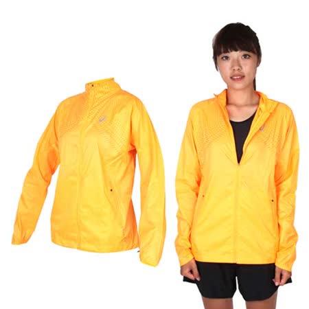 (女) ASICS 慢跑平織外套- 立領 慢跑 路跑 陽光橘