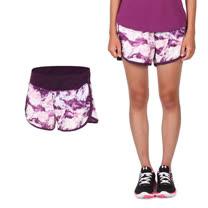 (女) NEWBALANCE 運動短褲-慢跑 路跑 反光 NB 紫白