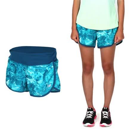 (女) NEWBALANCE 運動短褲-慢跑 路跑 反光 NB 湖水藍