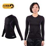 (女) FIRESTAR A1長袖保暖T恤-刷毛 保暖 緊身衣 台灣製 黑紫