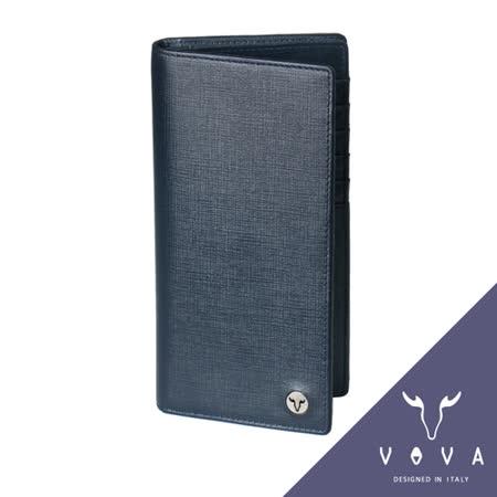 VOVA 凱旋系列12卡透明窗拉鍊零錢袋IV紋厚型長夾(墨藍色)VA104W005NY