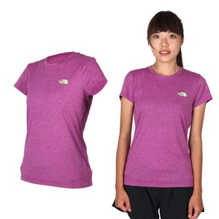 (女) THE NORTH FACE 短袖T恤-路跑 慢跑 運動 圓領 吸濕排汗 紫青綠 XS