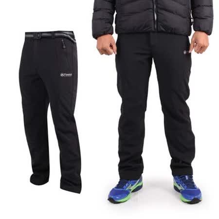 (男) FIRESTAR P3防風防水長褲-刷毛 保暖 慢跑 防潑水 黑白