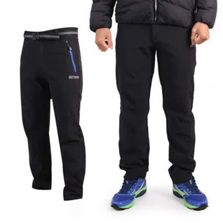 (男) FIRESTAR P3防風防水長褲-刷毛 保暖 慢跑 防潑水 黑藍