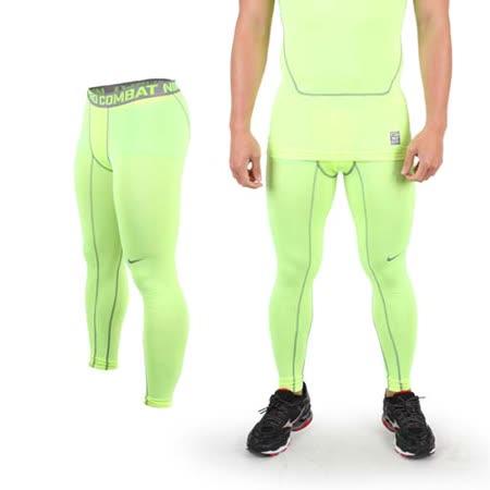 (男) NIKE 緊身長褲-彈力長褲 慢跑 路跑 三鐵 緊身褲 螢光黃灰