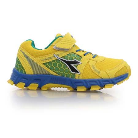 (童) DIADORA 男女中越野慢跑鞋-路跑 鞋 運動鞋 休閒鞋 黃藍