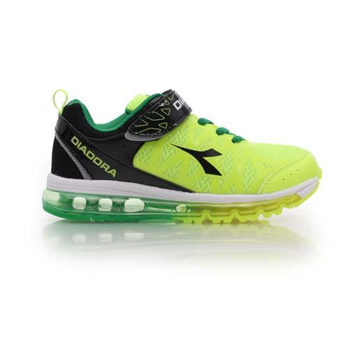 (童) DIADORA 男女中氣墊慢跑鞋-路跑 寬楦 運動鞋 休閒鞋 鞋 螢光綠黑