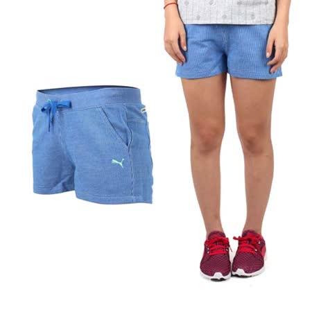 (女) PUMA 棉質短褲-棉褲 運動 路跑 瑜珈 慢跑 有氧 藍白蘋果綠