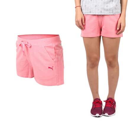 (女) PUMA 棉質短褲-棉褲 運動 路跑 瑜珈 慢跑 有氧 粉紅桃紅