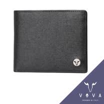 VOVA 凱旋系列9卡透明窗零錢袋上翻式IV紋短夾(黑色)VA104W008BK