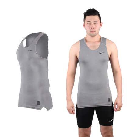 (男) NIKE PRO 緊身背心-針織 健身 重量訓練 慢跑 路跑 無袖 灰黑