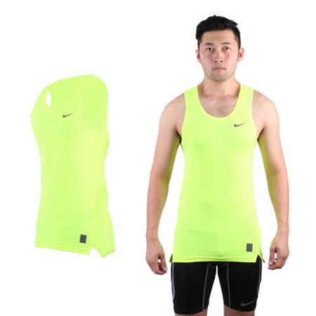 (男) NIKE PRO 緊身背心-針織 健身 重量訓練 慢跑 路跑 無袖 螢光黃黑