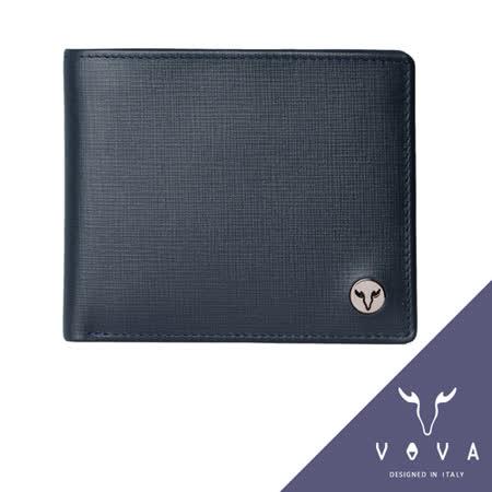 VOVA 凱旋系列9卡透明窗零錢袋上翻式IV紋短夾(墨藍色)VA104W008NY