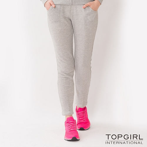 TOP GIRL 蕾絲拼接針織休閒長褲~淺灰
