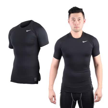 (男) NIKE PRO 短袖緊身衣-路跑 慢跑 健身 重訓 黑白