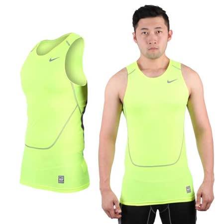 (男) NIKE PRO COMBAT 緊身背心-慢跑 路跑 重訓 健身 螢光黃灰