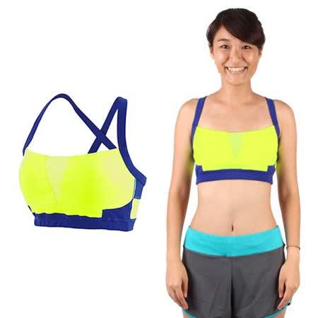 (女) NEWBALANCE 運動內衣-慢跑 路跑 有氧 瑜珈 運動背心 NB 螢光黃藍
