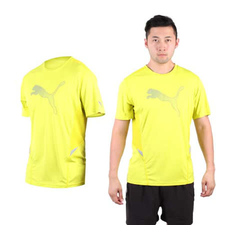 (男) PUMA NIGHTCAT 短袖T恤-圓領 吸濕排汗 慢跑 路跑 短T 芥末黃銀