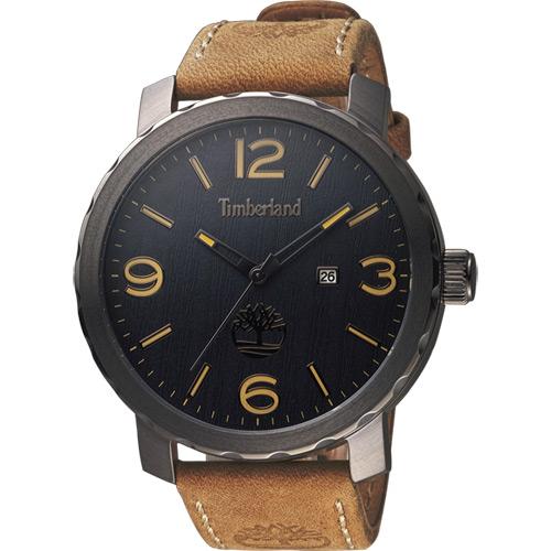 Timberland Pinkerton 木紋休閒 腕錶~黑x卡其50mm TBL.143