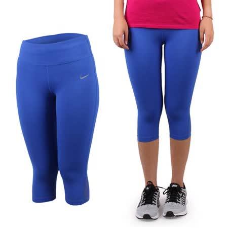 (女) NIKE 緊身長褲-七分 路跑 慢跑 瑜珈 健身 有氧 寶藍銀
