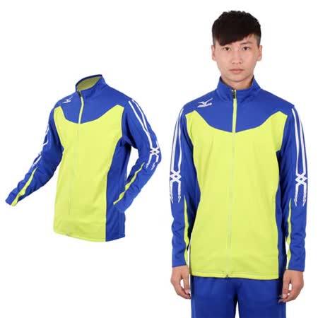 (男) MIZUNO SLIM FIT 運動外套 - 針織 立領 休閒外套 美津濃 芥末綠藍