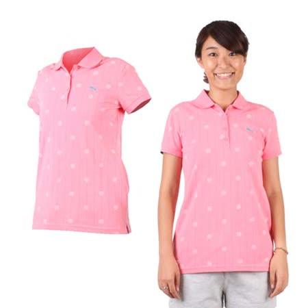 (女) PUMA 短袖POLO衫-立領 高爾夫 粉紅湖水藍