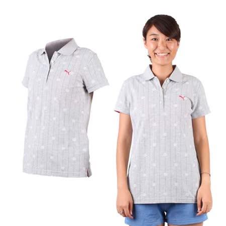 (女) PUMA 短袖POLO衫-立領 高爾夫 淺灰桃紅
