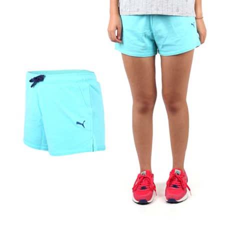 (女) PUMA 短褲-棉褲 路跑 慢跑 有氧 瑜珈 天藍深藍