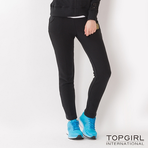 TOP GIRL 蕾絲拼接針織休閒長褲~黑