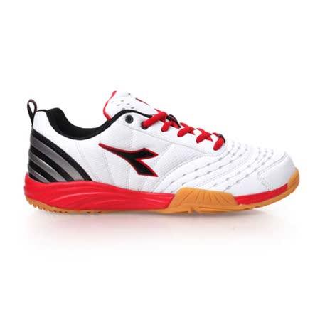 (男) DIADORA 羽球鞋-運動 寬楦 白紅黑