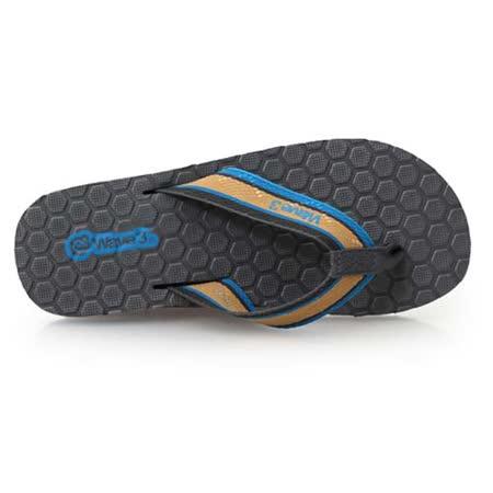 (男) WAVE3 瑜珈墊菱格夾層人字拖-拖鞋 夾腳拖 台灣製 灰藍