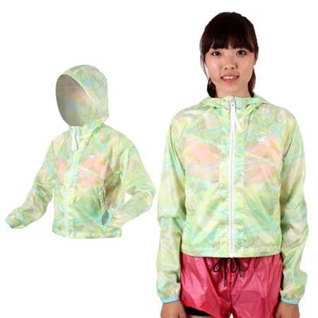 (女) NEWBALANCE 短版風衣外套- 防風 連帽 NB 淺綠藍