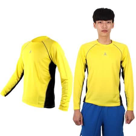(男女) HODARLA 長袖剪接排汗衫 -長T恤 圓領T 防曬 台灣製 黃黑