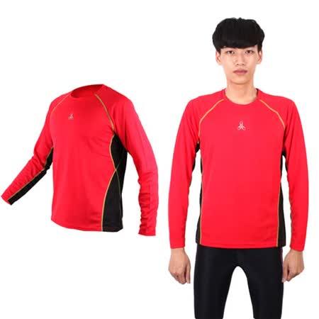 (男女) HODARLA 長袖剪接排汗衫 -長T恤 圓領T 防曬 台灣製 紅黑