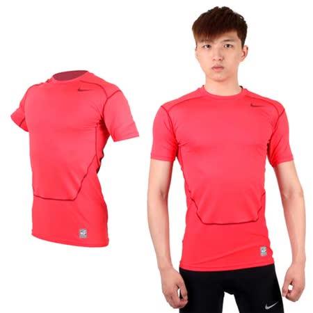 (男) NIKE PRO COMBAT 短袖緊身衣-針織 健身 重訓 緊身T恤 玫紅
